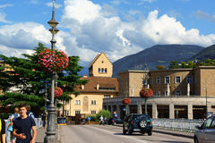Ponte Talvera bridge in downtown Bolzano (Bozen) Stock Photography