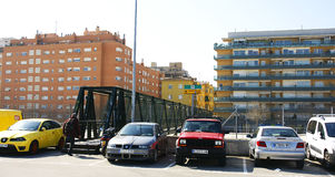 Ponte temporaneo negli impianti del viale del treno ad alta velocità, Barcellona Fotografia Stock