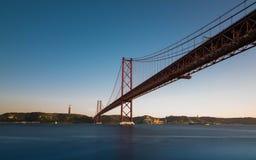 Ponte 25th De Abril - Lisbon. View of 25th de Abril bridge from tagus riverbank in Lisbon Stock Photos