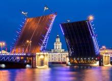 Ponte tirada e Kunstkamera do palácio na noite branca, St Petersburg, Rússia foto de stock