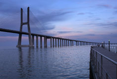 Ponte Vasco da Gama. The traditional bridge over the river Tejo (Ponte Vasco da Gama Royalty Free Stock Photos