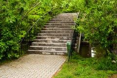 Ponte vazia da curva do vintage no parque de Herastrau de Bucareste no dia bonito da mola imagens de stock royalty free