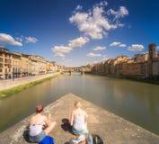 Ponte Vecchio和亚诺河河在佛罗伦萨,意大利 免版税图库摄影