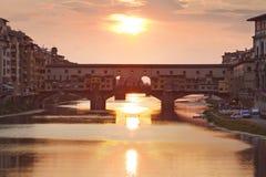 Ponte Vecchio στο ηλιοβασίλεμα, Φλωρεντία, Τοσκάνη Στοκ Φωτογραφία