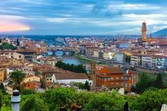 Ponte Vecchio και Palazzo Vecchio, Φλωρεντία, Ιταλία Στοκ φωτογραφία με δικαίωμα ελεύθερης χρήσης