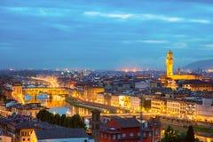 Ponte Vecchio και Palazzo Vecchio, Φλωρεντία, Ιταλία Στοκ εικόνες με δικαίωμα ελεύθερης χρήσης