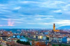 Ponte Vecchio και Palazzo Vecchio, Φλωρεντία, Ιταλία Στοκ Φωτογραφίες