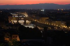 Ponte Vecchio в Флоренсе, Тоскане, Италии Стоковые Фотографии RF