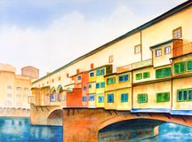 Ponte vecchio. (the old bridge) in Florence, Italy. Hand painted illustration Royalty Free Stock Photography