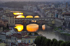Ponte Vecchio. In Florence, Italy at sunset Stock Photo