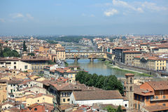 Ponte Vecchio across the Arno River in Florence Royalty Free Stock Image