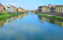 Ponte Vecchio and Arno river in Florence - Italy Royalty Free Stock Photos