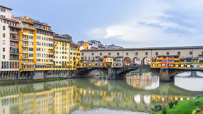 Ponte Vecchio and the Arno river in Florence, Italy Stock Photos