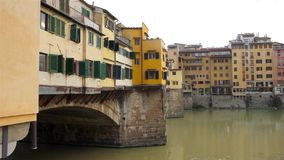 Ponte Vecchio and the Arno river in Florence, Tuscany stock footage