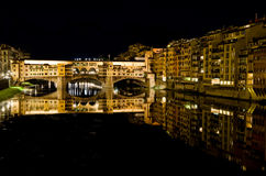 Ponte Vecchio bij nacht Royalty-vrije Stock Afbeelding