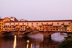 Ponte Vecchio Bridge Across Arno River in Florence Royalty Free Stock Images