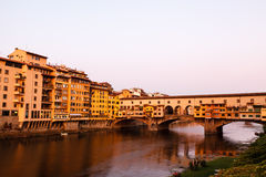 Ponte Vecchio Bridge Across Arno River in Florence Stock Photos
