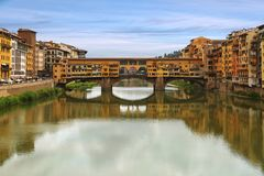 Ponte Vecchio bridge across Arno river in Florence, Italy stock photo