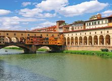 Ponte Vecchio bridge and Corridoio Vasariano Vasari Corridor in Florence, Italy royalty free stock images