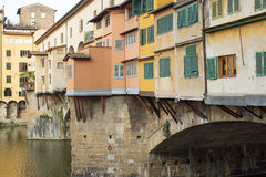 Ponte Vecchio Bridge Florence. Detail of the buildings on the Ponte Vecchio Bridge, Florence , Italy Stock Images
