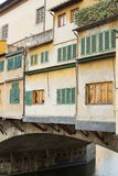 Ponte Vecchio Bridge Florence. Detail of the buildings on the Ponte Vecchio Bridge, Florence , Italy Royalty Free Stock Photography