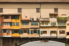 Ponte Vecchio Bridge Florence. Detail of the buildings on the Ponte Vecchio Bridge, Florence , Italy Royalty Free Stock Images