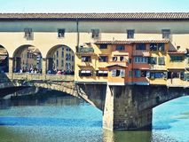 Ponte vecchio bridge in florence. Detail of ponte vecchio bridge in florence in italy Stock Photos