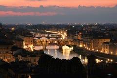 Ponte Vecchio bridge in Florence at dusk Royalty Free Stock Photo