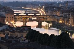 Ponte Vecchio bridge in Florence at dusk Royalty Free Stock Photography