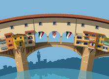 Ponte Vecchio bridge Florence flat illustration. Ponte Vecchio bridge Florence flat Stock Image