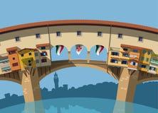 Ponte Vecchio bridge Florence flat illustration Stock Image