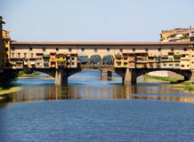 Ponte vecchio across arno river. Florence. Italy Royalty Free Stock Photography