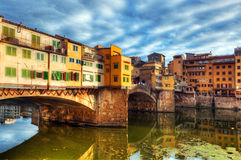 Ponte Vecchio bridge in Florence, Italy. Arno River. Royalty Free Stock Photography