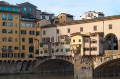 The Ponte Vecchio bridge in Florence, Italy. Close-up of the Ponte Vecchio bridge in the morning sun in Florence, Italy Royalty Free Stock Photos