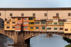 The Ponte Vecchio bridge in Florence, Italy. Close-up of the Ponte Vecchio bridge in the morning sun in Florence, Italy Stock Photography