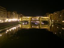 Ponte Vecchio Bridge in Florence Italy At Night Royalty Free Stock Photography