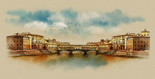 The Ponte Vecchio bridge in Florence. Italy. Watercolor sketch. Stock Photo