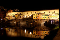 Ponte Vecchio bridge in Florence at night Stock Photography