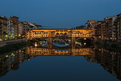 Ponte Vecchio bridge in Florence at night, Italy Royalty Free Stock Images