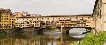 Ponte Vecchio Bridge Florence. Panoramic view the Ponte Vecchio Bridge over the river Arno, Florence , Italy Stock Image