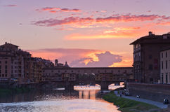 Ponte Vecchio bridge in Florence at sunset Stock Photos