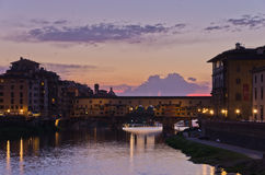 Ponte Vecchio bridge in Florence at sunset, Tuscany Royalty Free Stock Images