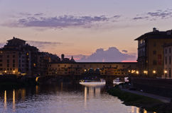 Ponte Vecchio bridge in Florence at twilight Stock Images