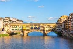 Ponte Vecchio bridge in Italy. Ponte Vecchio bridge over the Arno River in Florence Stock Photography