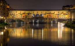 Ponte Vecchio bridge at night Stock Photos