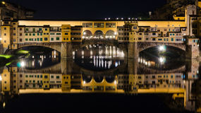 Ponte Vecchio bridge by night - Florence Stock Photo