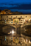 Ponte Vecchio Bridge at night in Florence, Tuscany, Italy Royalty Free Stock Photos