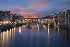 Ponte Vecchio bridge at sunset. Florence, Italy Royalty Free Stock Image