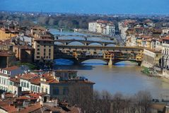 Ponte Vecchio, city, bridge, town, landmark. Ponte Vecchio is city, landmark and river. That marvel has bridge, waterway and urban area and that beauty contains royalty free stock images