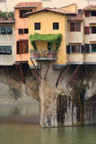 Ponte Vecchio detail. Close up of some of the buildings hanging off the Ponte Vecchio in Florence royalty free stock image